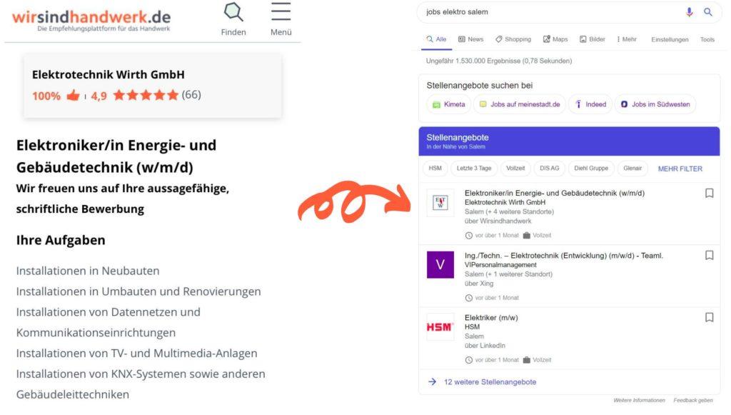 Google for Jobs, Handwerker Jobs, Handwerker finden, wirsindhandwerk.de